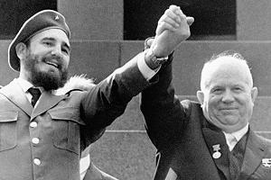 Fidel Castro and Nikita Krushchev