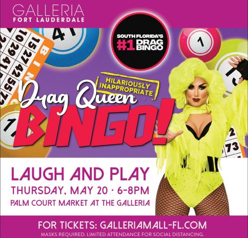 Laugh & Play During Drag Queen Bingo Benefit for the FLITE Center on May 20 at The Galleria at Fort Lauderdale
