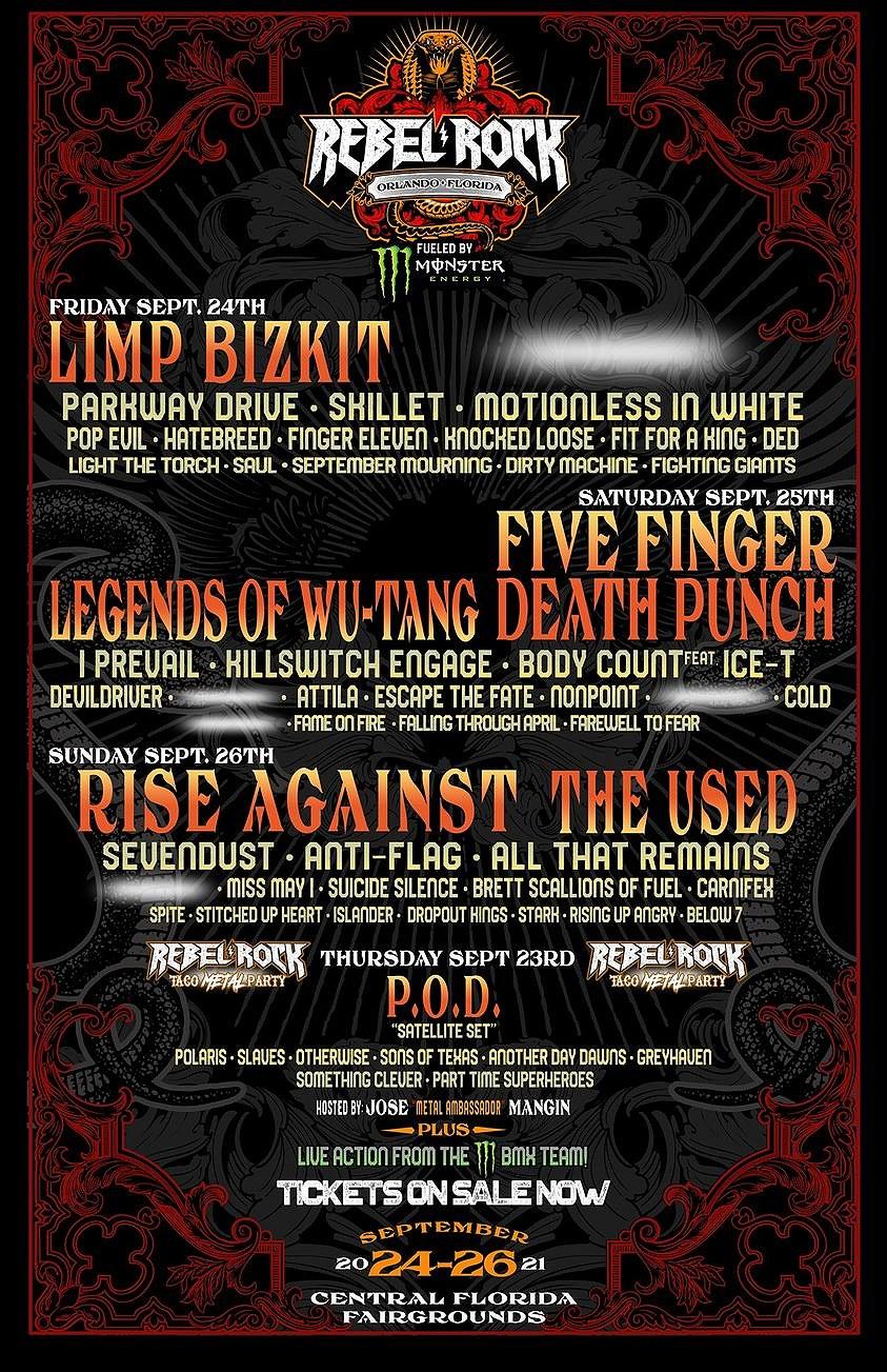 Rebel Rock Festival Lineup 2021, Orlando, Florida